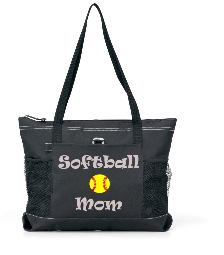Softball Mom Sports Tote - Silver Glitter Fun Lettering on a Black/black Tote
