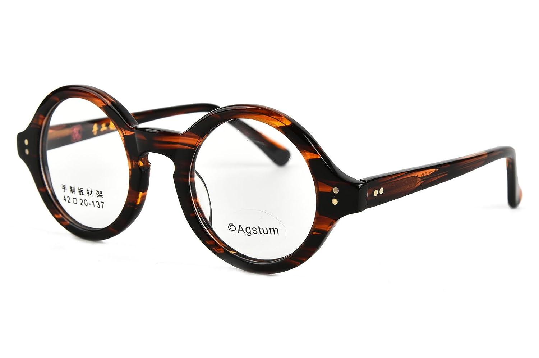Agstum 42mm Handmade Vintage Retro Round Optical Eyeglass Frame