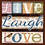 """Custom & Cool {3.5'' Inches} in Bulk Pack Set of 12 Square """"Grip Texture"""" Drink Cup Coasters Made of Flexible Poly Fabric w/ Rubber Bottom & Live Laugh Love Clipped Text [Colorful Tan Pink Orange Blue]"""