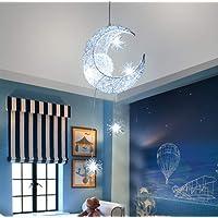 Suspension Lune étoiles Suspension Lustres plafonnier avec 5 ampoules pour enfants Chambre (Lumière blanche froide)