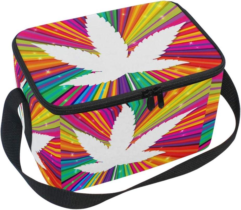 Ahomy Marijuana Cannabis en Colorida Bolsa de Almuerzo, Bolsa de bento con Cremallera para Hombres y Mujeres