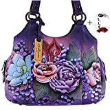 Anuschka Hand Painted Genuine Leather Triple Compartment Medium Satchel (Lush Lilac)
