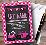 Pink Country Farm Tractor Childrens Birthday Party Invitations