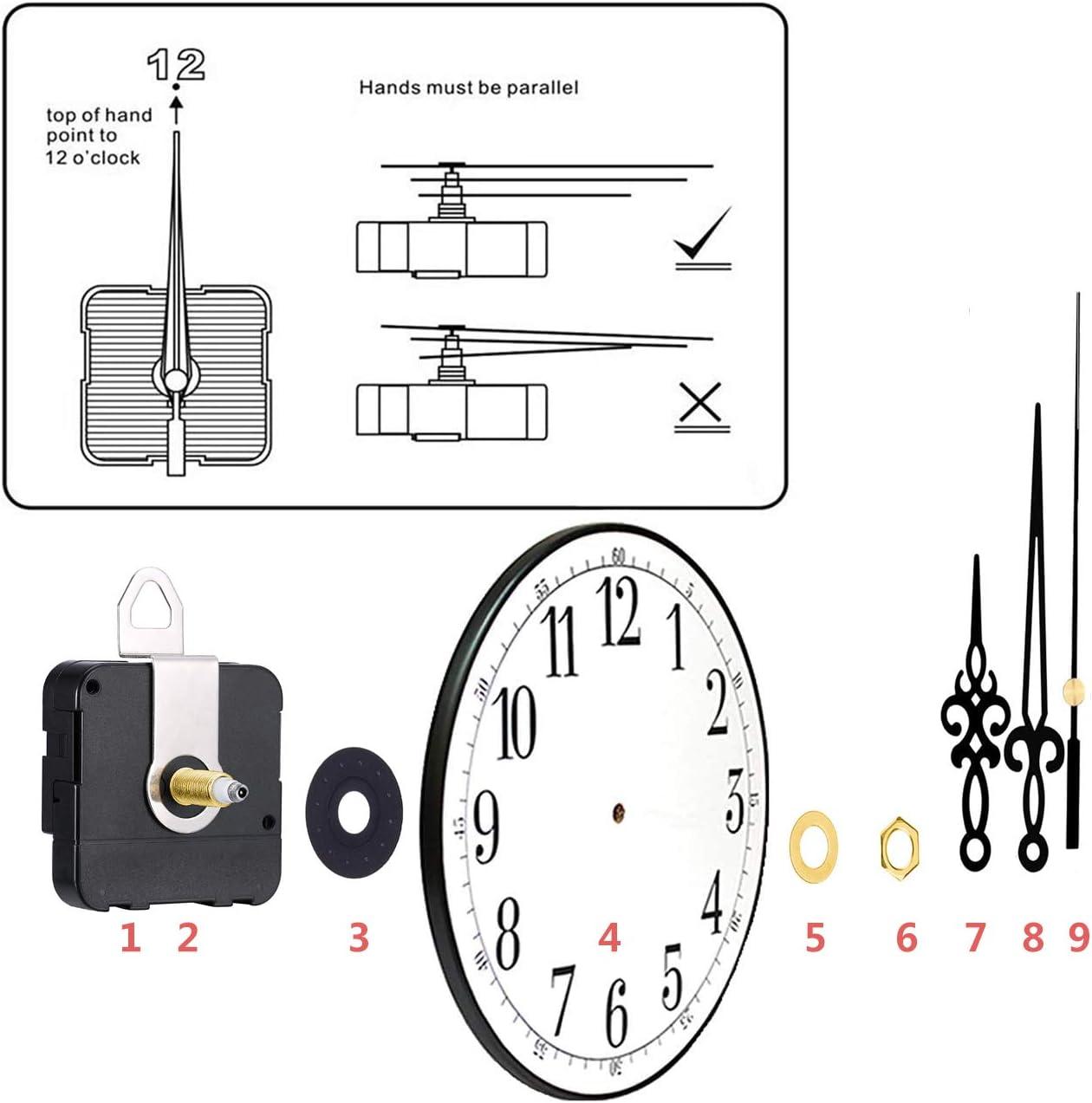 2 Pieces High Torque Long Shaft Clock Movement Mechanism with 4 ...