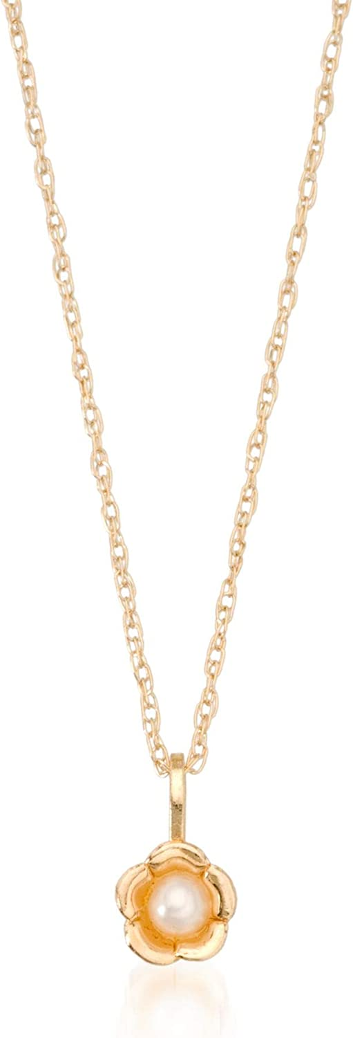 Ross-Simons Child's 2.5mm Cultured Pearl Flower Pendant Necklace in 14kt Yellow Gold. 15 inches