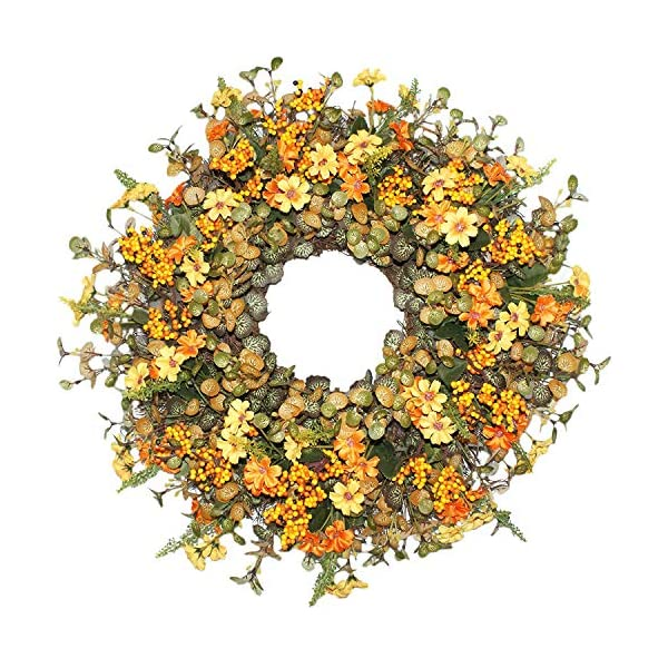 Emlyn Berry Daisy Silk Fall Wreath for Autumn Season, Front Door Wreath with Vibrant Fall Colors,Indoor Outdoor Fall Year Round Flowers Farmhouse Wall Decor Use- 18 Inches