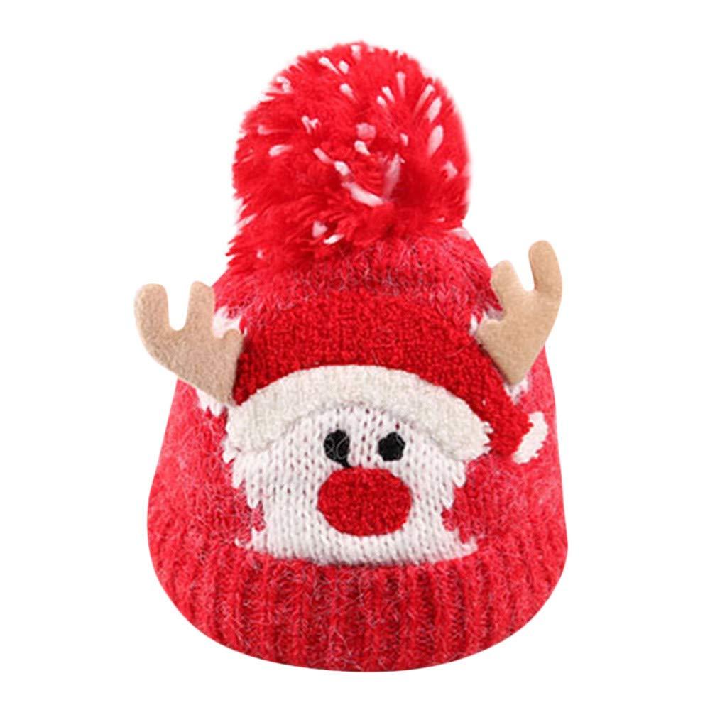 Infant Cute Cartoon Christmas Winter Warm Hat, Jchen(TM) Baby Kids Beanie for Boys Girls Cap Cotton Knitted Ball Warm Christmas Hats (Blue)