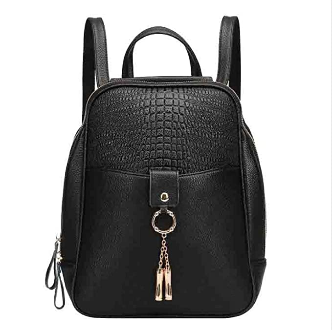 Señora De Cuero Bolso Fashion College Mochila Casual Negro,Black-27*11.5*33cm: Amazon.es: Ropa y accesorios