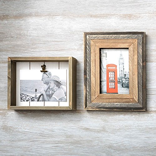 Nautical Shadow Box - Shadow Box And Four Layer Border Picture Keepsake Wood Frames Set Of Two ~ Each Frame holds a 4 x 6 photo ~ Perfect for Wedding, Graduation, Engagement Or Any Cherished Memory