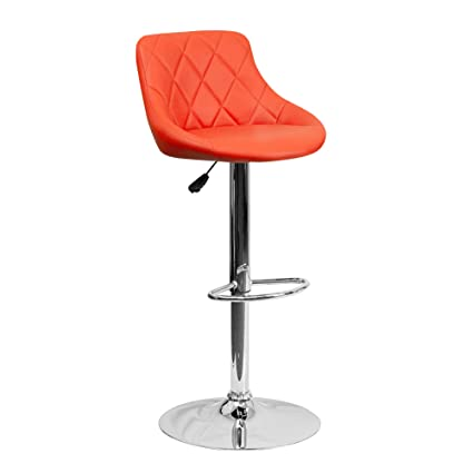 TIED RIBBONS Designer Letheratte Bar Stool Chair for Kitchen, Home, Living Room, caf�, Bar(Orange, Letheratte and Steel)