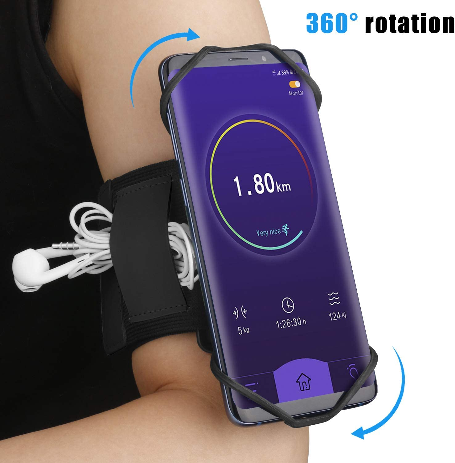 Tsuinz Cellphone Holder Running Wristband Armband Fit for iPhone 11 Pro Max Galaxy S20 Ultra Note 10 Pro Note 10+ Galaxy S10+ LG, 360° Rotatable Elastic Armband for Gym Fitness