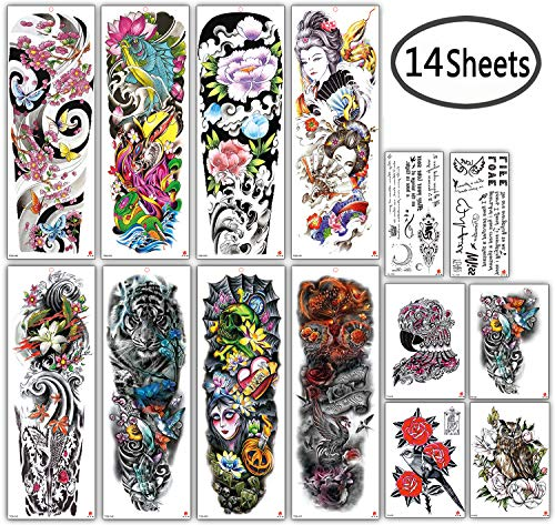- DaLin Extra Large Full Arm Temporary Tattoos and Half Arm Tattoo Sleeves for Men Women, 18 Sheets (Collection 5)