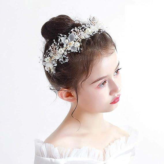 New Girl/'s Cream /& Crystal Flower Head band Hair Accessory HA31897