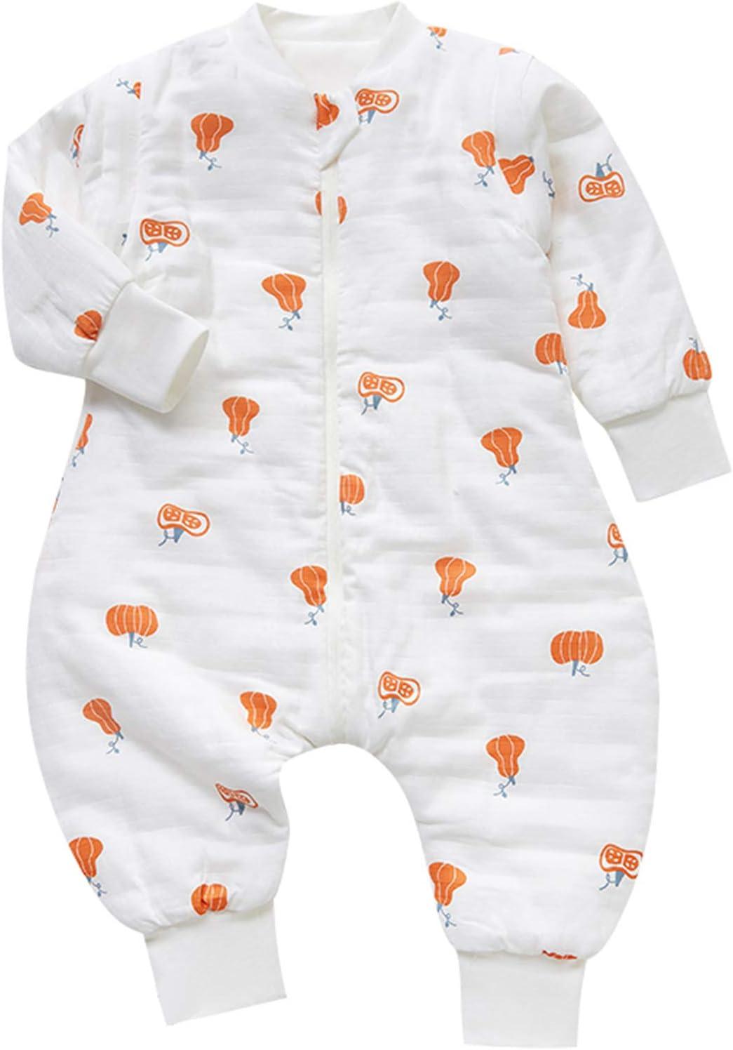80//Hauteur B/éb/é 65-75cm Chilsuessy Grenouill/ère B/éb/é Gigoteuse avec Jambes Fille Gar/çon Combinaison Tog 2.5 Hiver Coton Pyjama Unisexe,manches d/étachables Orange