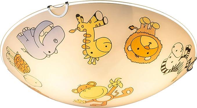 Kinderzimmerlampe Mädchen Junge Kinderlampe Decke Glas Zoo Tiere Bunte Deckenlampe Kinderzimmer 30 Cm 2 X E27
