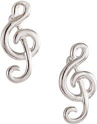 "SIX""Basic"" silberne Ohrstecker, Damen Ohrringe, earrings mit stylischem Notenschlüssel (700-245)"