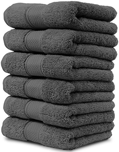 Maura 6 Piece Hand Towel Set. 2017 Premium Quality Turkish Towels. Super Soft, Plush and Highly Absorbent. Set Includes 6 Pieces of Hand Towels (Hand Towel - Set of 6, Space Gray)