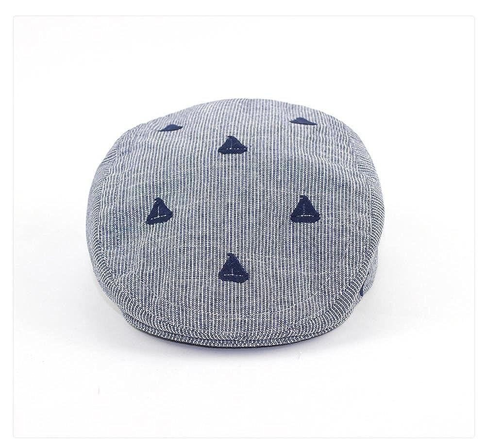 LifenewBaby Baby Infant Boys Beret Hat Cotton Sun Hat Navy Blue Stripe Peaked Cap Sailboat Embroidery Elastic Size Adjustable