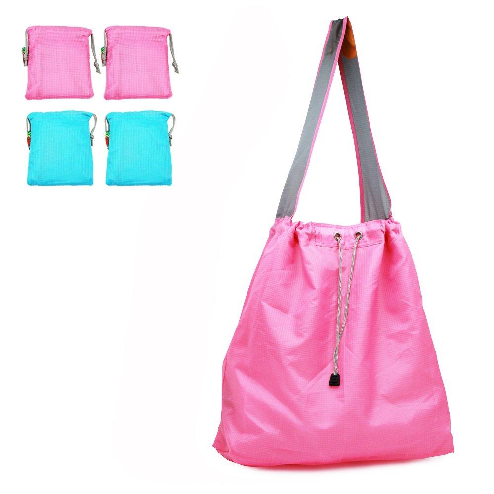 特許出願中: Ecojeannie 4パックLarge超強力なリップストップナイロン折りたたみ式再利用可能なショッピングバッグ、旅行バッグ、ビーチバッグ、Grocery Tote w /ポーチ&インナーポケット、draw-string、強化ハンドル 15.5 H X 15 W X 5 Inch D / 28 Inch Handle ピンク B06XGN7YMX Pink-Blue-Pink-Blue|4 Pink-Blue-Pink-Blue