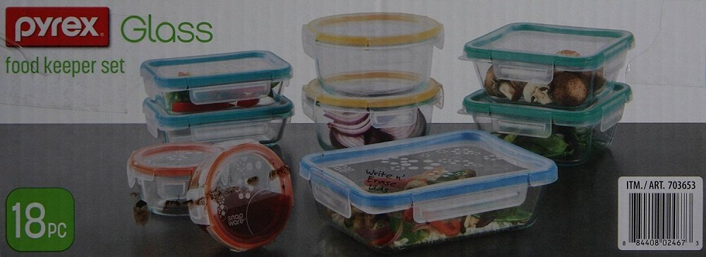 Clear 18-Piece Set Snapware Airtight & Leakproof Pyrex Glass Food Keeper Set (19-Piece Set)