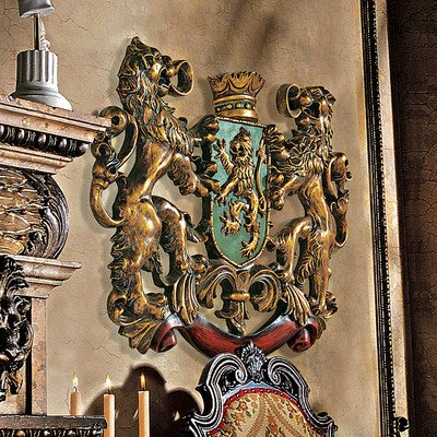 Design Toscano Heraldic Royal Lions Coat of Arms Medieval Decor Wall Sculpture, 30 Inch, Polyresin, Full Color