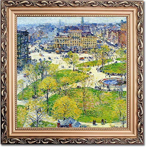 Ori Gallery Framed Canvas Print - Union Square in Spring - by Childe Hassam