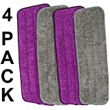 "Microfiber Spray Mop Pads Replacement Heads for Wet and Dry Mops 15"" Flat Mop Refill (4 Pack)"