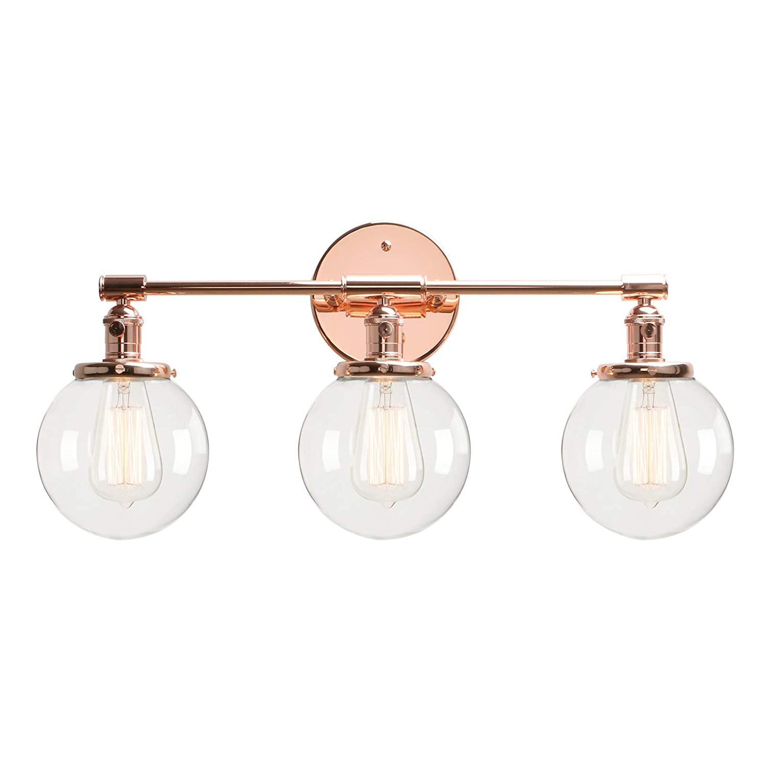 Copper Permo Vintage Industrial Antique Three-Light Wall Sconces with Mini 5.9  Round Clear Glass Globe Shade (Antique)
