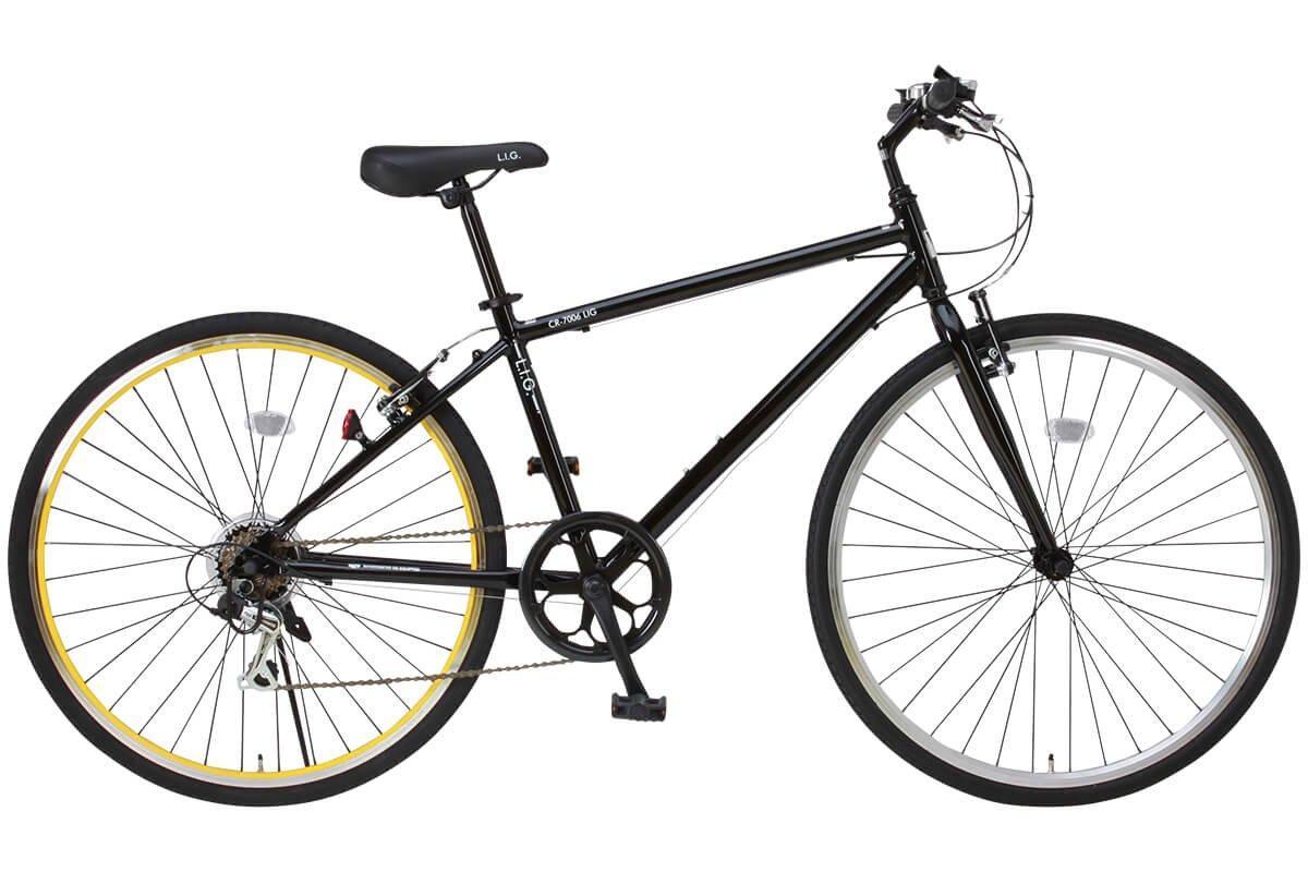 LIG(リグ)700Cシマノ6段変速アルミ製クロスバイク[サムシフト/Vブレーキ/ベル標準装備] CR-7006 LIG B004R96KWMブラック