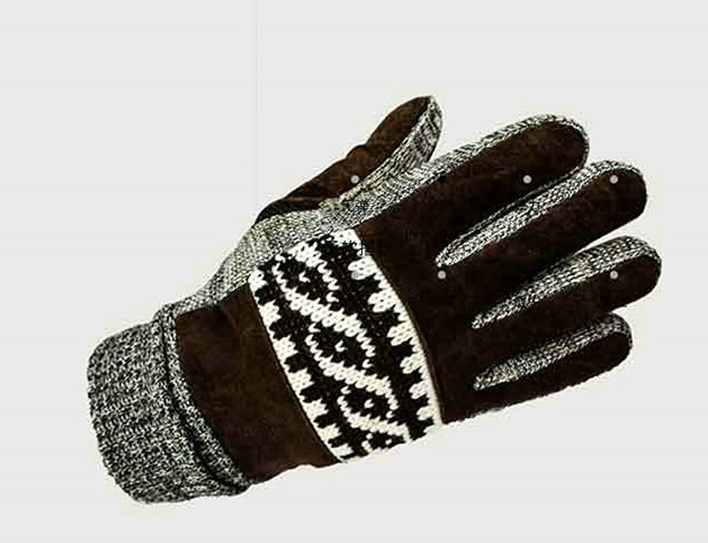 Mens Touchscreen Gloves Thermal Plush Lined Outdoor Cycling Suede Leather Mittens by Elfjoy