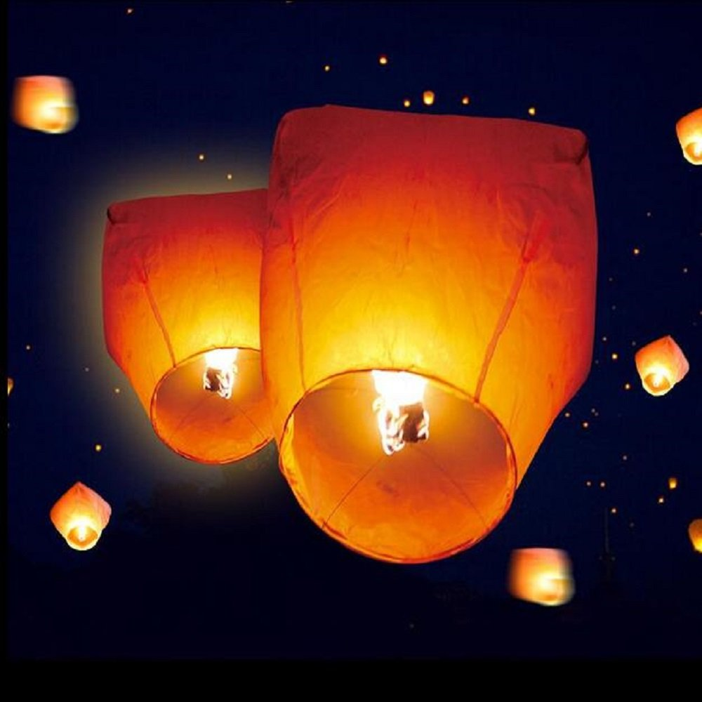 20 Pack White Sky Lanterns Eco Friendly Flying Wishing Lanterns for Birthday Party Wedding