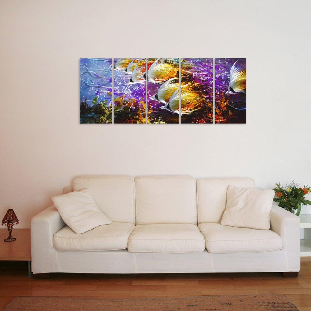 Amazon.com: Colorful Tropical School of Fish Metal Wall Art, Large ...