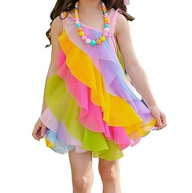 4dee448b70c4b5 Comfysail Comfysail Kinder Mädchen Prinzessin Kleid Regenbogen ...