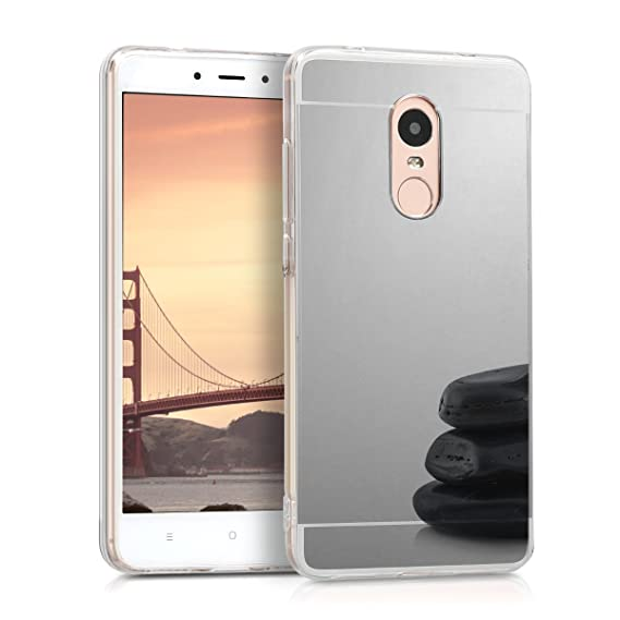 brand new 1bac6 550ba kwmobile Mirror Case for Xiaomi Redmi Note 4 / Note 4X - TPU Silicone  Bumper Protective Cover Reflective Back Case - Silver Reflective