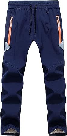 FAIRYRAIN Niño Deporte al Aire Libre Pantalones de Montaña Impermeables Transpirable Softshell Fleece Lined Pantalones Drawstring Pantalones Senderismo Niña Pantalones con Cremallera Bolsillos