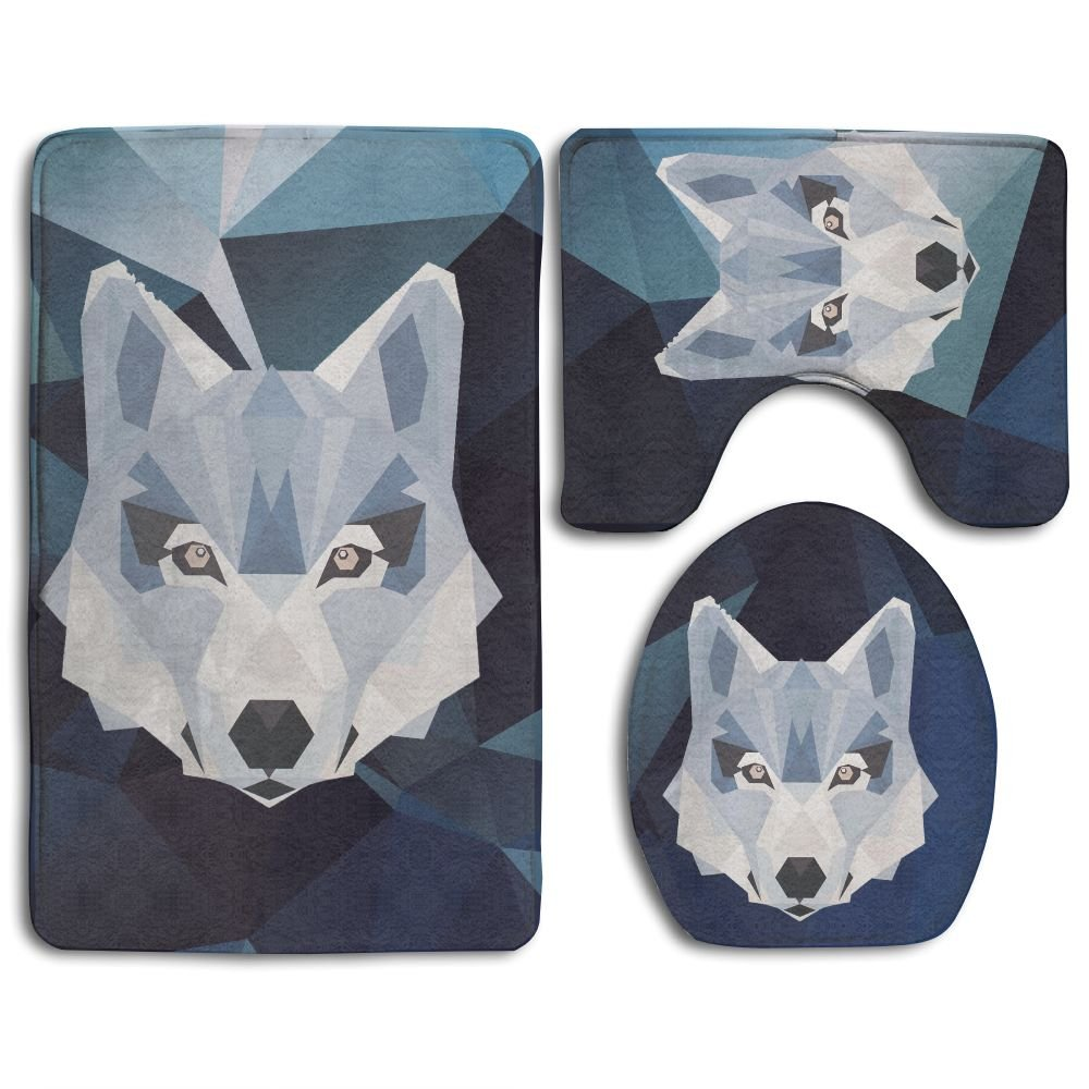 Wolf Animals Skidproof Toilet Seat Cover Bath Mat Lid Cover