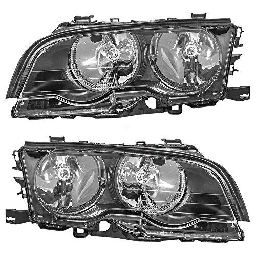 Driver and Passenger Halogen Headlights Headlamps Replacement for BMW 63 12 6 904 279 63 12 6 904 280 AutoAndArt