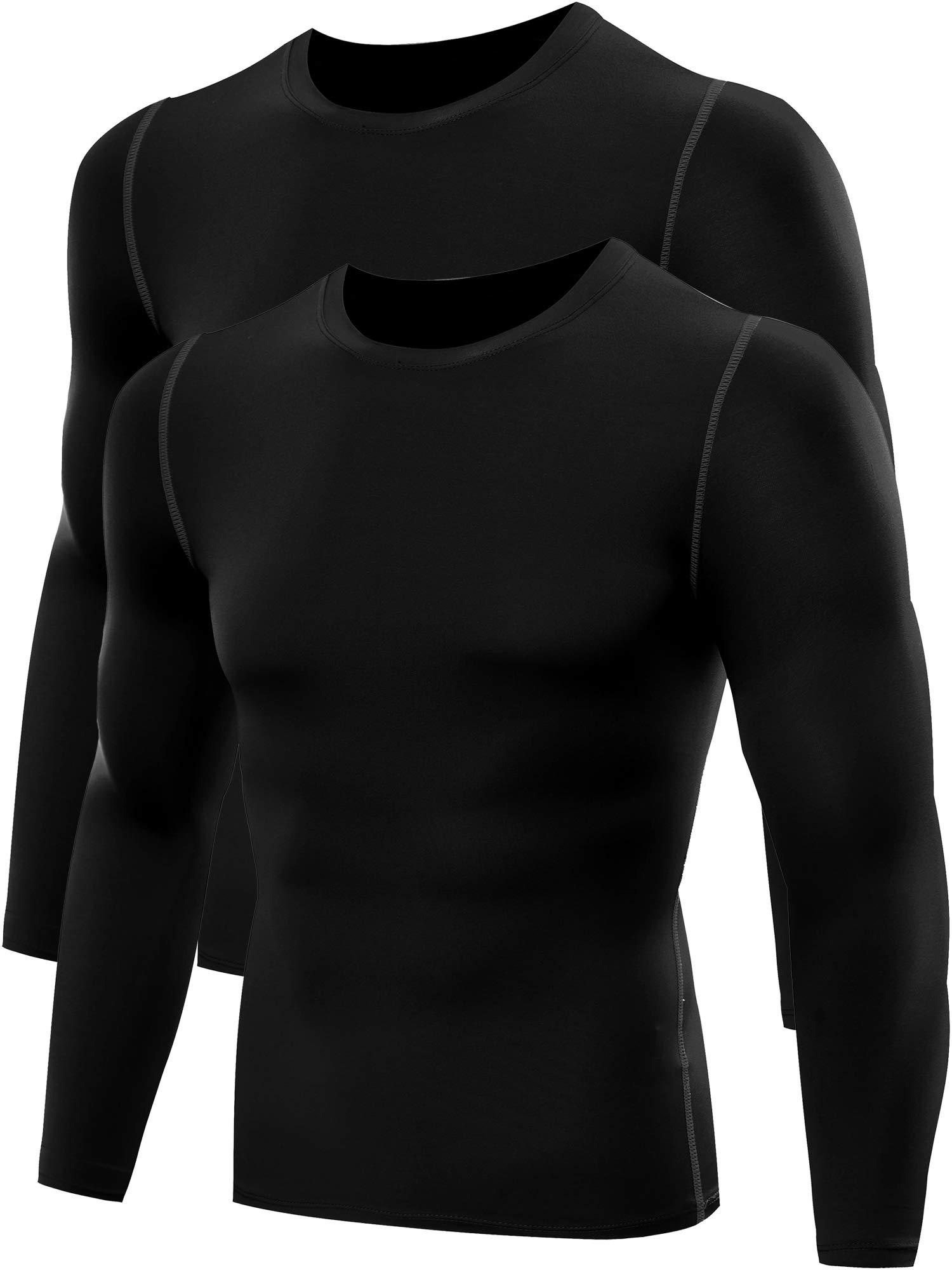 Neleus Men's 2 Pack Athletic Compression Shirt,008,Black/Black,US L,EU XL by Neleus