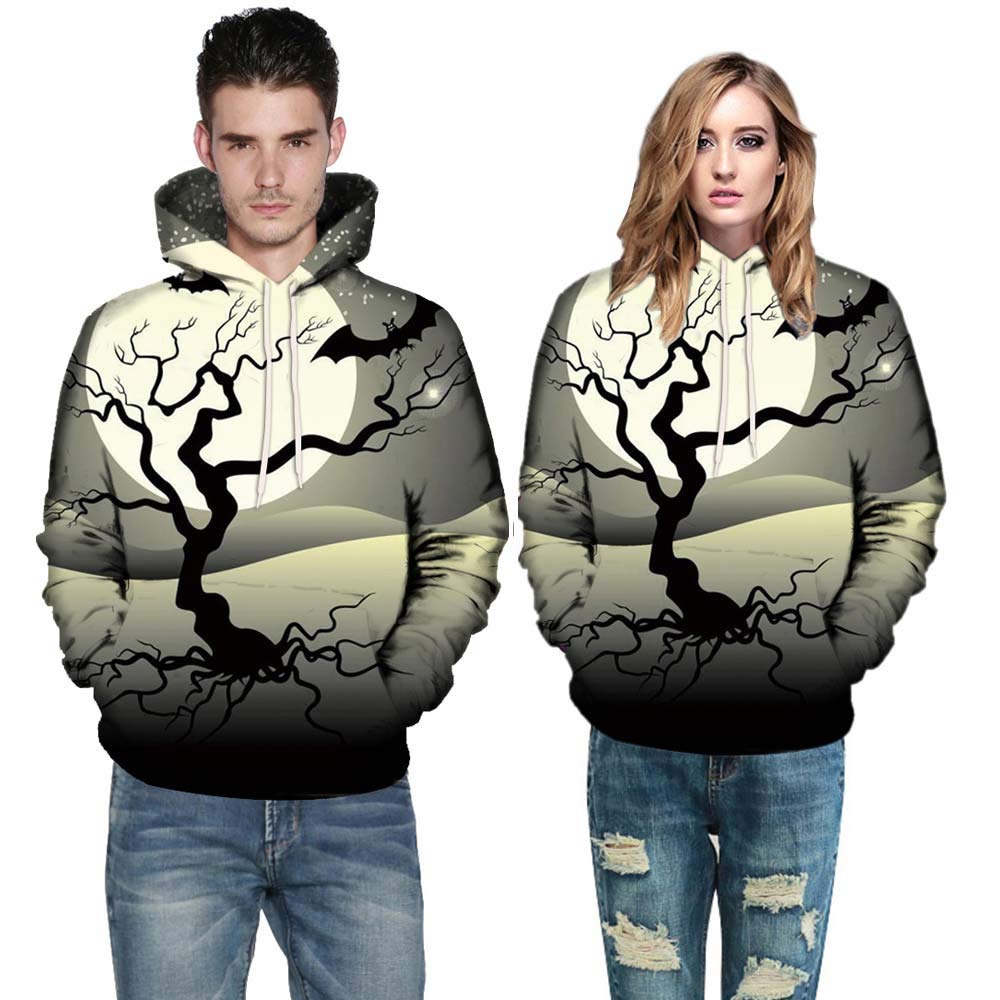 Women Men Tops Long Sleeve O-Neck 3D Print Halloween Couples Drawstring Hoodies Sweatshirt Pullover (L, Gray 1492)