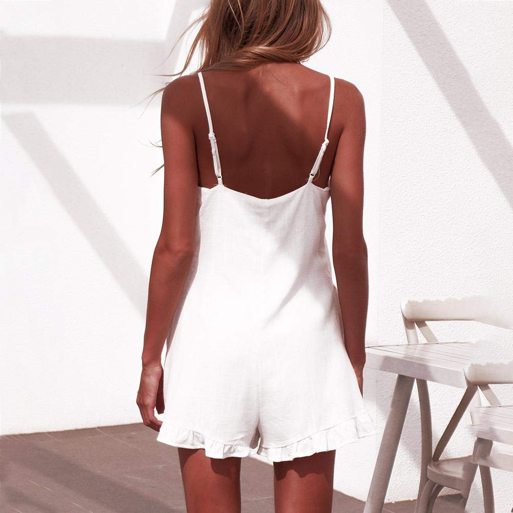 Occitop Solid Color Ruffle Backless Jumpsuit Women High Waist Sleeveless Playsuits