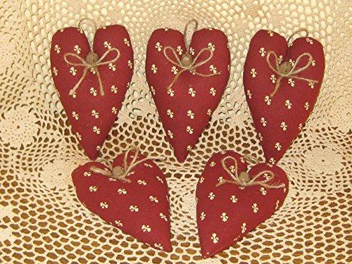 Dark Red Fabric Prim Heart Ornaments Set of 5