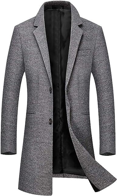 Sliktaa Manteau Laine Homme Hivers Chaud Slim Affaires Casual A La Mode Epais Couleur Unie Outerwear 8 Couleurs