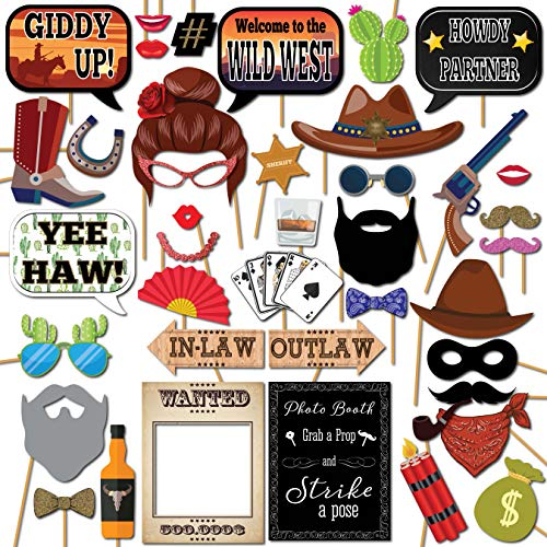 Wild West Cowboy Western Photo Booth Props Party Kit, 41 Pieces with Wooden Sticks and Strike a Pose Sign by Outside the Booth]()
