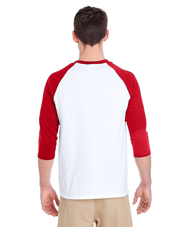 L-12PK -WHITE//RED Gildan Mens Heavy Cotton /¾-Sleeve Raglan G570