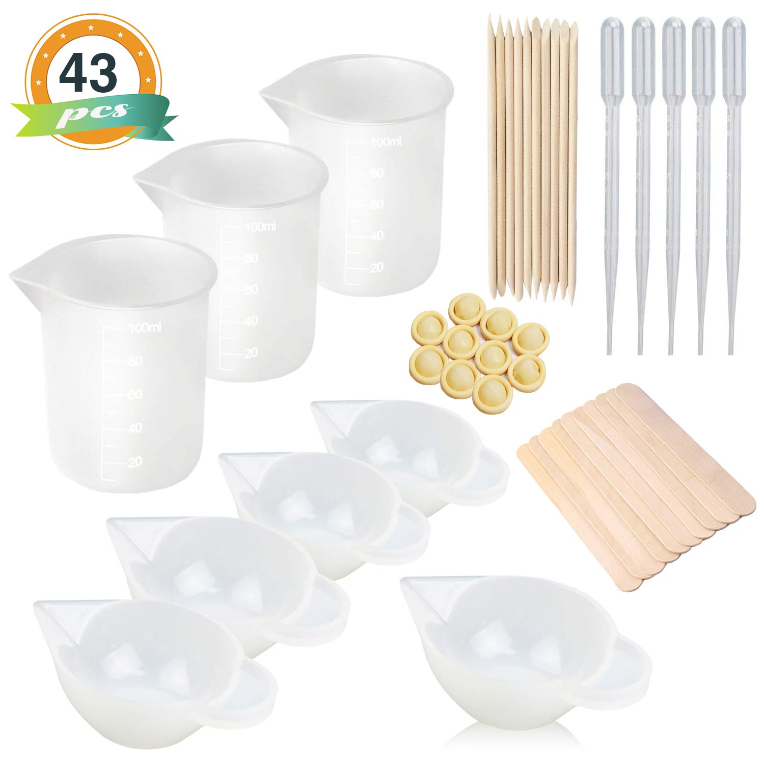 8PCS Silicone Measuring Cups for Resin 100ml 10ml, Nonstick Silicone Mixing Cups, Epoxy Resin Cups, Glue Tools Sticks Pipettes Finger Cots for Epoxy Resin, Casting Molds, Slime, Art, Waxing,Cup Turner by LET'S RESIN