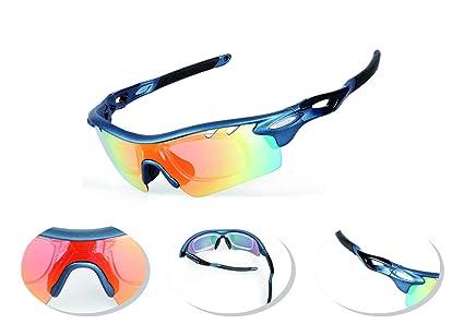 JOGVELO Gafas Ciclismo Polarizadas, Gafas Ciclismo con 5 Lentes Intercambiables TR-90 Anti UV400