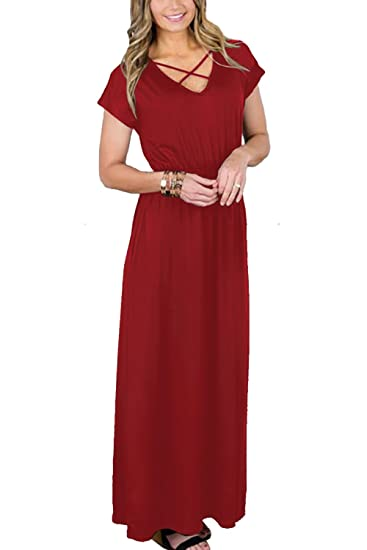 05dcbbeead35 Allimy Women s Short Sleeve Maxi Dress Plus Size Plain Loose Swing Casual  Floor Length Long Dresses Red at Amazon Women s Clothing store