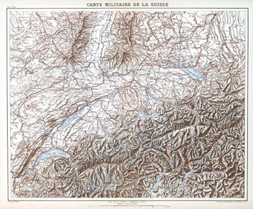 World Atlas | 1882 Carte Militaire de la Suisse. | Historic Antique Vintage Map Reprint