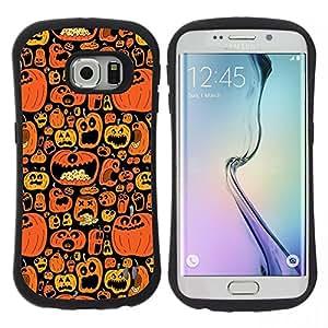 """Hypernova Slim Fit Dual Barniz Protector Caso Case Funda Para Samsung Galaxy S6 EDGE [Naranja calabaza Negro vacaciones""""]"""