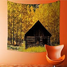 Nalahomeqq Autumn Decor Custom tapestry by Abandoned Wooden Farmhouse in Fall Aspen Trees Rural Pastoral Nature Scene Fabric drawing room Decor Extra Brown Yellow 40 W x 60 L INCH